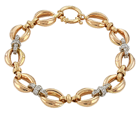 C cubic zirconia bracelet, onyx red gold