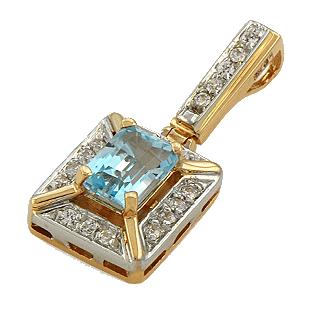 Кулон (подвеска) c фианитами, топазом из комбинированного золота