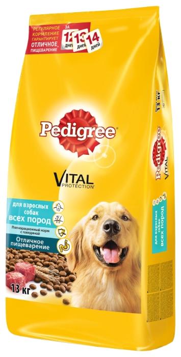 Pedigree Для взрослых собак всех пород полнорационный корм с говядиной (13 кг)